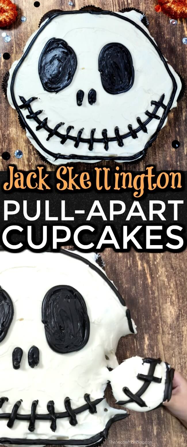 These easy Jack Skellington Pull Apart Cupcakes make the perfect Halloween party dessert! Click for video tutorial and photo step-by-step instructions!