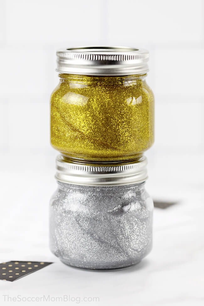 Stunning silver and gold metallic glitter slime recipe