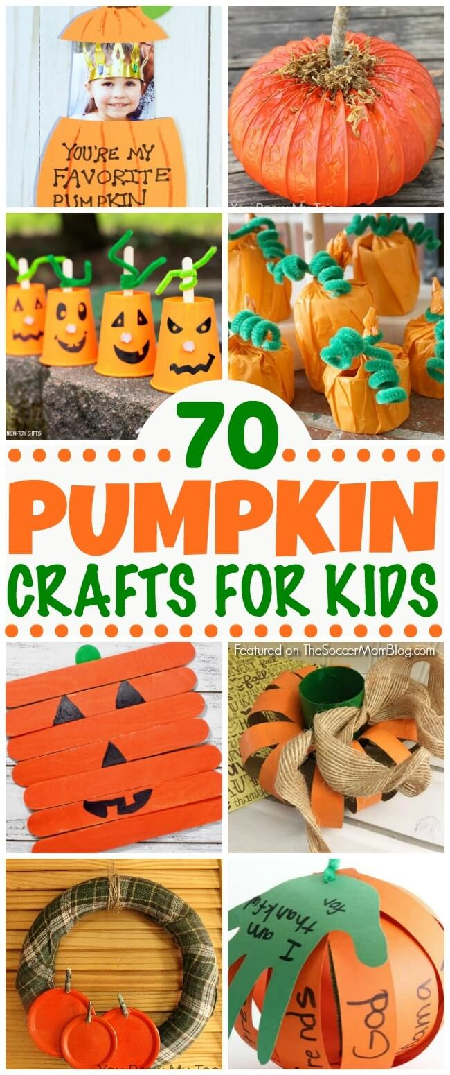An absolutely HUGE collection of pumpkin crafts for kids! Paper crafts, games, pumpkin decorating ideas, upcycled crafts, Halloween, Thanksgiving, & more!