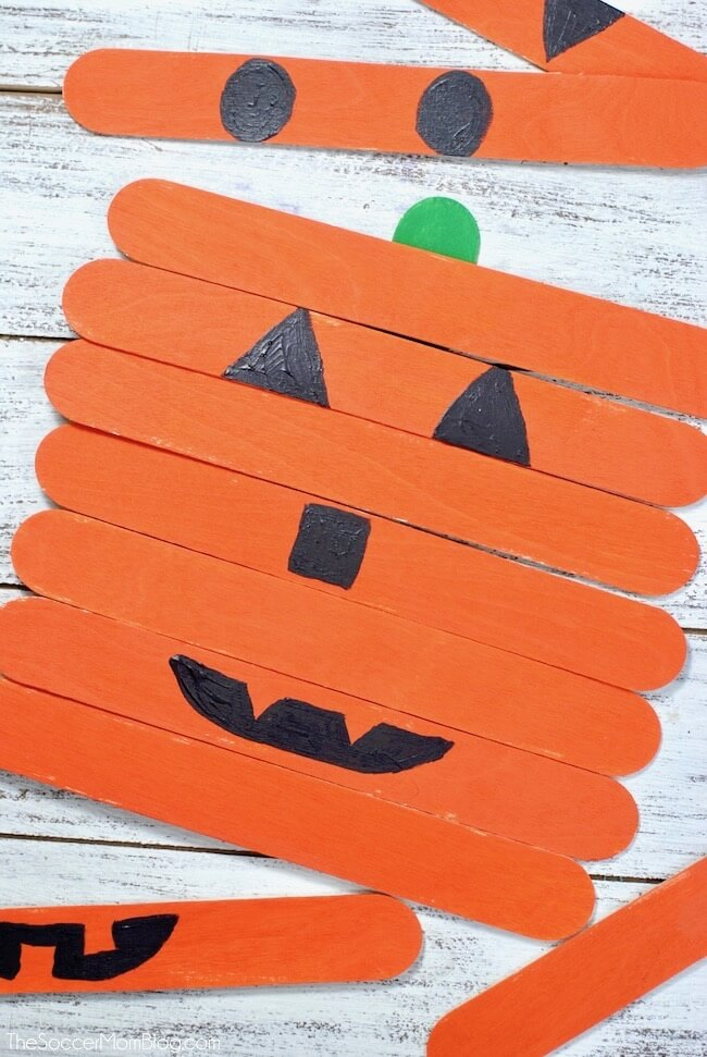 popsicle stick pumpkin craft