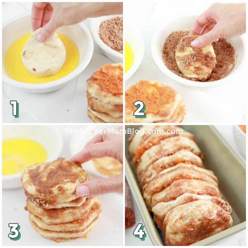 step by step photos showing how to make pumpkin bread with biscuit dough