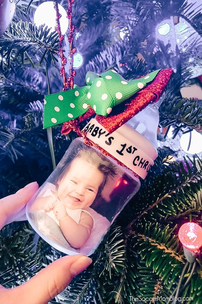 Celebrate baby's 1st Christmas with this adorable handmade baby bottle ornament - a personalized baby's first Christmas ornament and treasured keepsake!