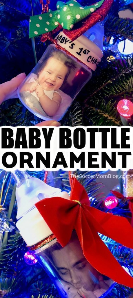 Celebrate baby's first Christmas with this adorable handmade baby bottle photo ornament! Click for video instructions!