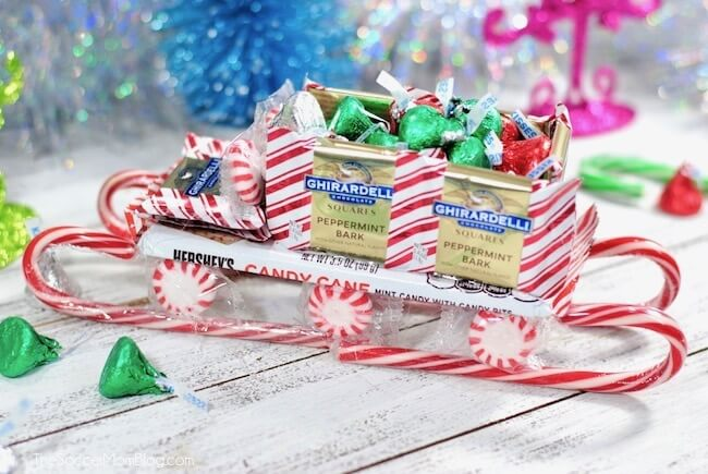 Kids will love this cute candy sleigh made from their favorite Christmas treats! Makes a great gift idea!