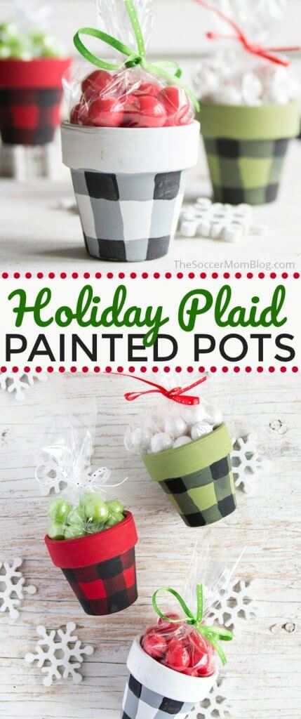 Buffalo Check Painted Pots are a gorgeous holiday decoration or handmade Christmas gift idea! Click for video tutorial & photo step-by-step instructions.