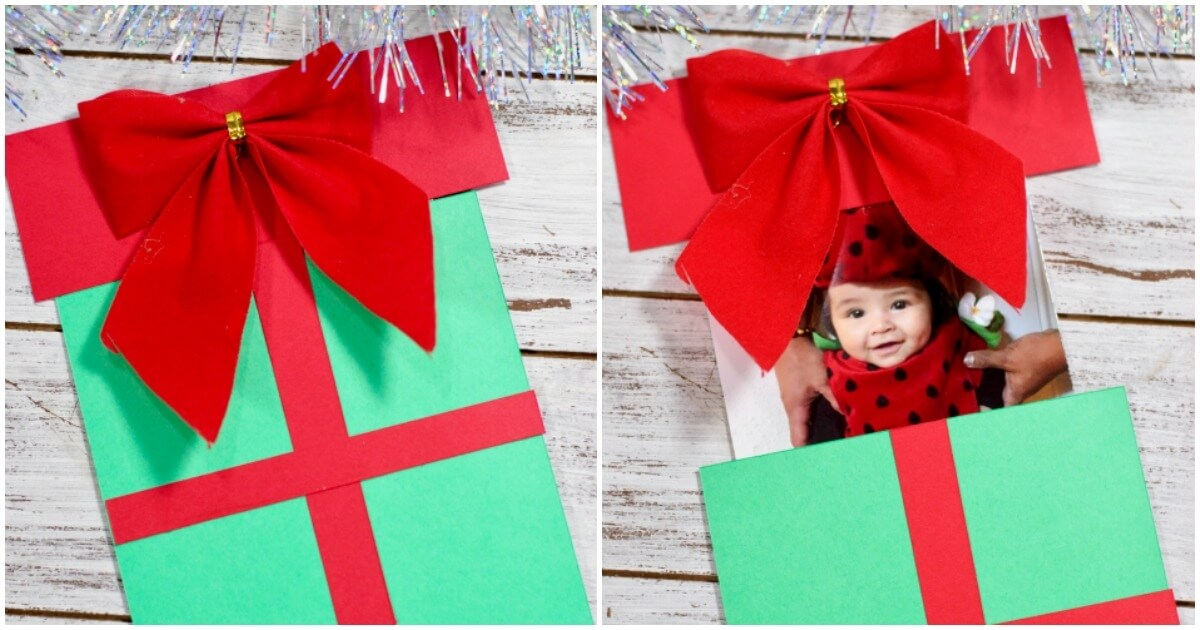 How to make this super-easy cute Christmas Present Pop-Up Card, with a free printable template.