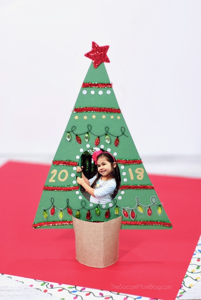 This Christmas Tree Picture Frame is an easy kid-made holiday keepsake craft! Click for video instructions