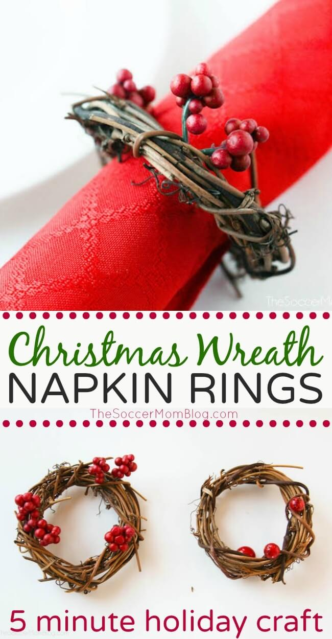 Add a festive touch to your holiday table with these gorgeous nature-inspired DIY Christmas Wreath Napkin Rings. This easy homemade table decor idea takes only minutes to make!