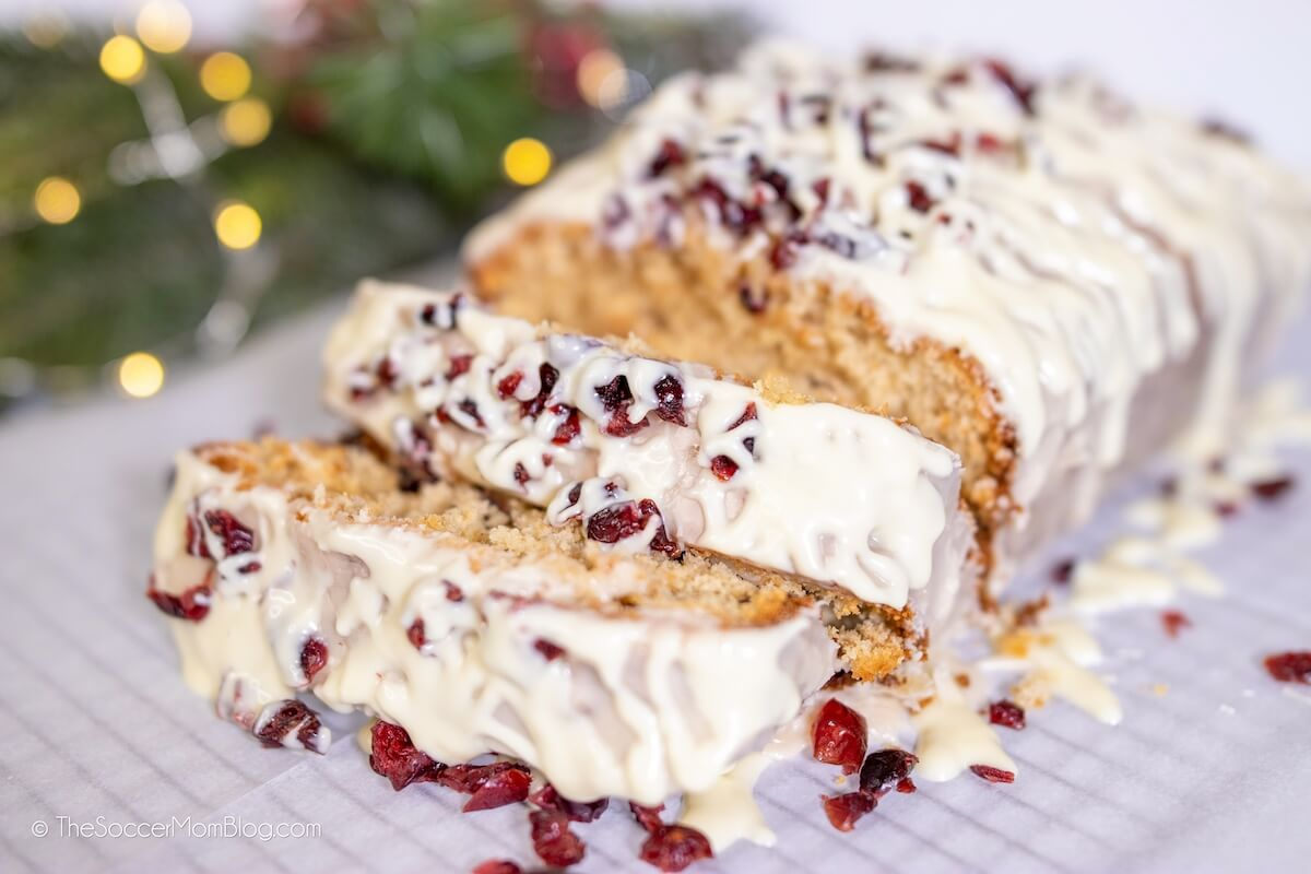 cranberry bliss bread made with cranberries and white chocolate