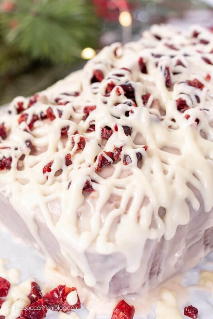 iced bread with white chocolate and dried cranberries