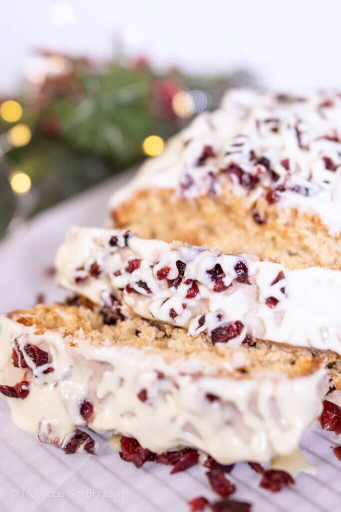 sliced cranberry bliss bread with white chocolate