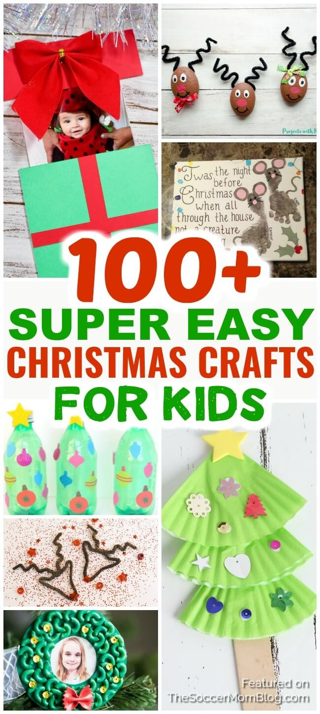 A huge collection of easy Christmas crafts for kids of all ages! Inside you'll find Christmas card ideas, kid-made Christmas ornaments, and even holiday slime recipes!