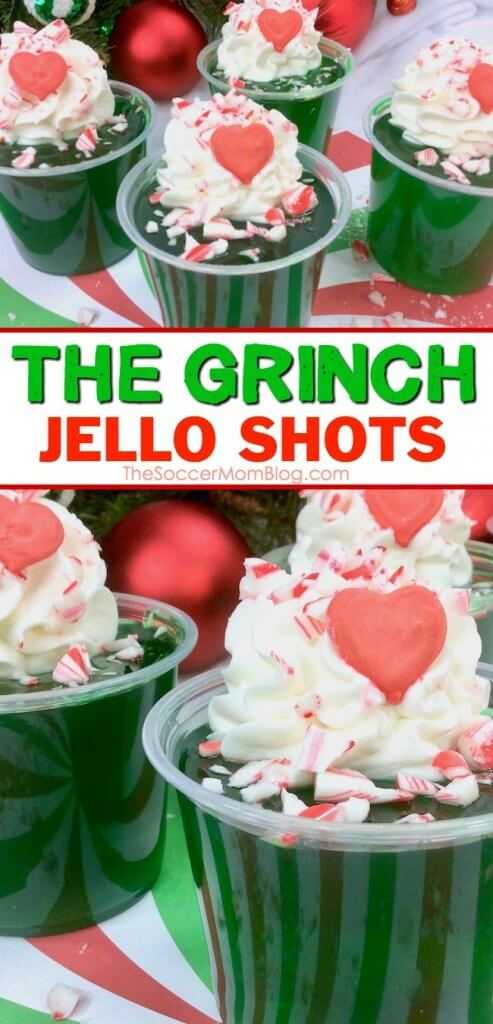 These Grinch Christmas Jello Shots are guaranteed to liven up the party! Click for easy recipe, perfect for holiday parties!
