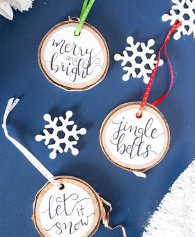 Hand Lettered Wood Slice Christmas Ornaments (with Video)