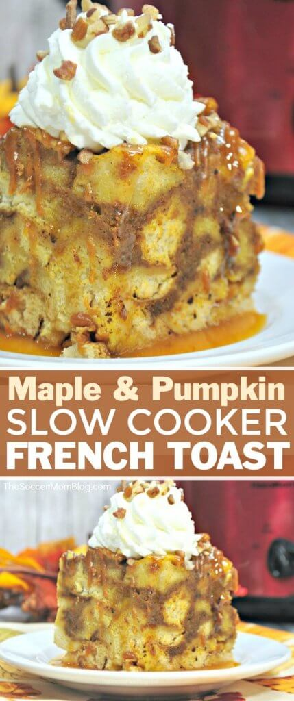 The perfect (easy) Fall breakfast! This Slow Cooker Fall French Toast Casserole is bursting with all of your favorite flavors of the season!