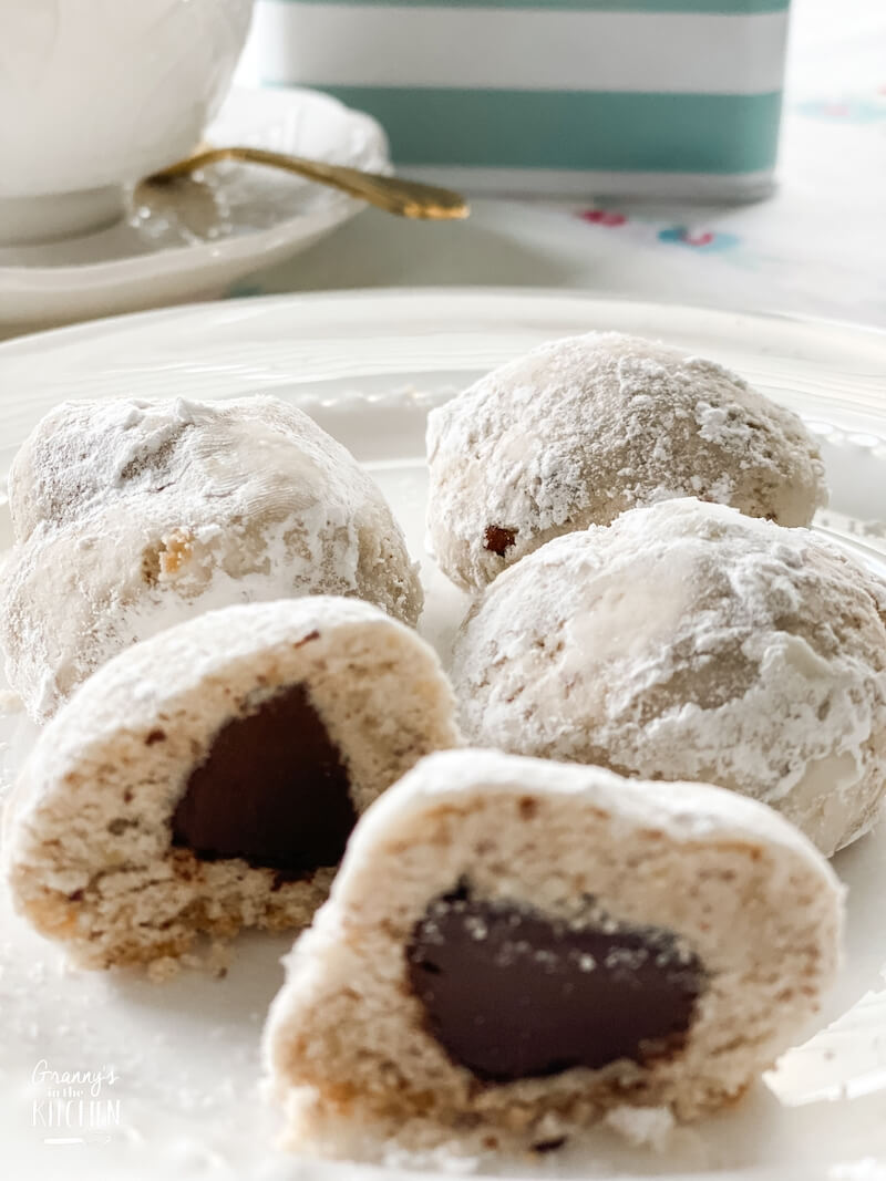 Russian tea cakes with Hershey's kiss in the middle