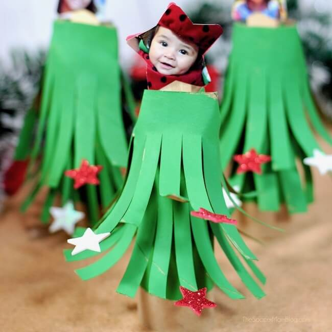 Who knew toilet paper rolls could be so cute?! This cardboard tube Christmas tree craft is fun and easy holiday decoration or kid-made gift idea!