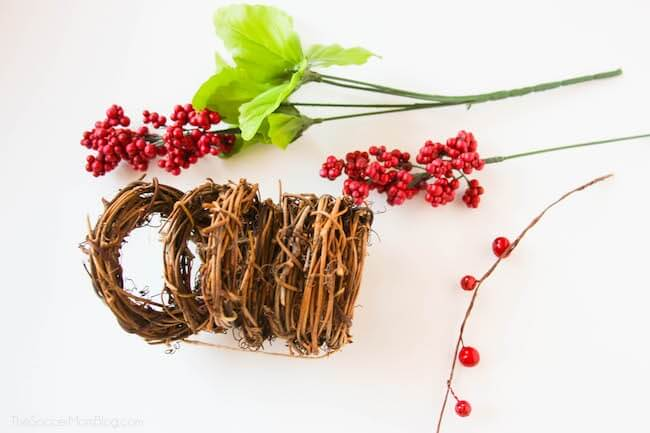 supplies to make holiday berry wreath napkin rings