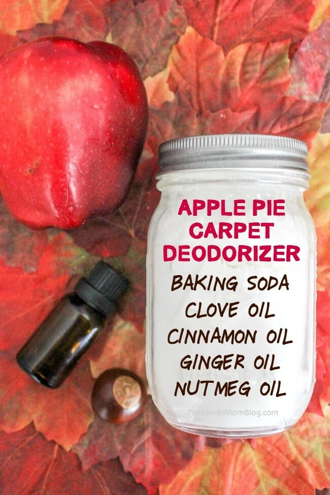 Our easy DIY Carpet Deodorizer will make your home smell amazing, just like a fresh apple pie! This natural carpet deodorizer powder is easy to make, works on tough odors, and is safe to use in a home with kids and pets.