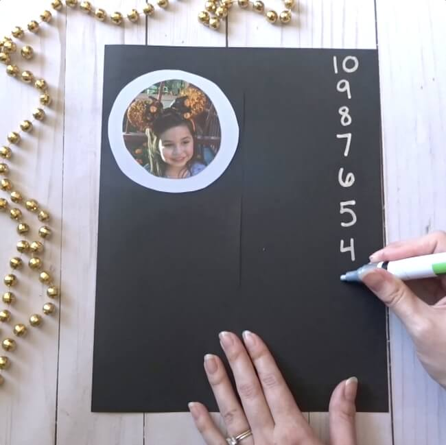 writing a countdown on NYE kids craft
