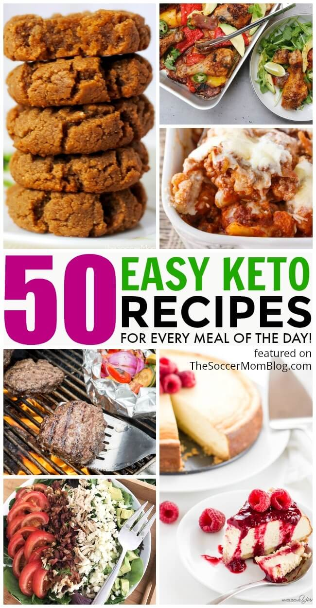 HUGE collection of easy keto recipes that will keep you on track all month long — from breakfast to dinner to dessert! Bookmark this page for new recipes added often!
