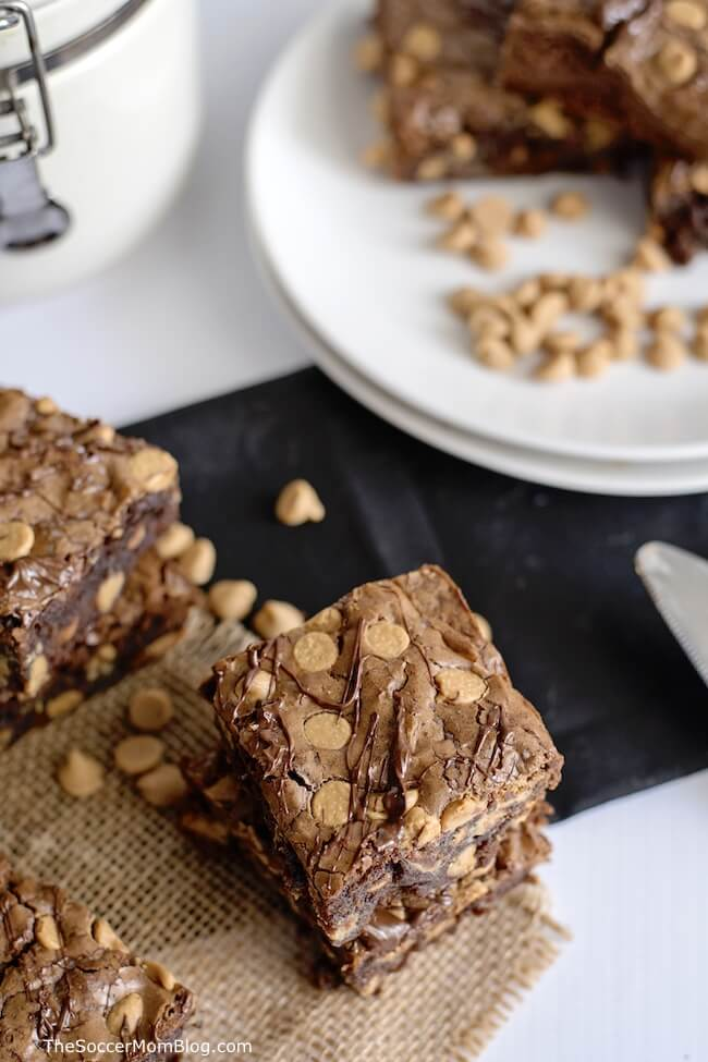 Chocolate Peanut Butter Brownies are the perfect dessert for peanut butter lovers - you'll never guess the secret ingredient that gives them an extra kick!