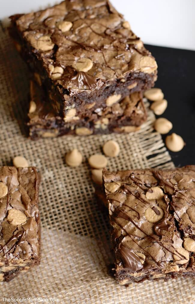 These Espresso Peanut Butter Chip Brownies are the perfect dessert for the after-dinner coffee lover!