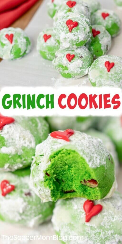 green Christmas cookies with red heart decoration, inspired by the Grinch