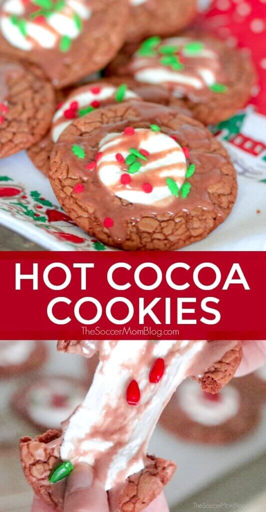 These hot chocolate cookies taste like a warm mug of cocoa, only better! Rich & chewy hot cocoa cookies are the perfect treat for snowy days or as a part of a holiday cookie spread.