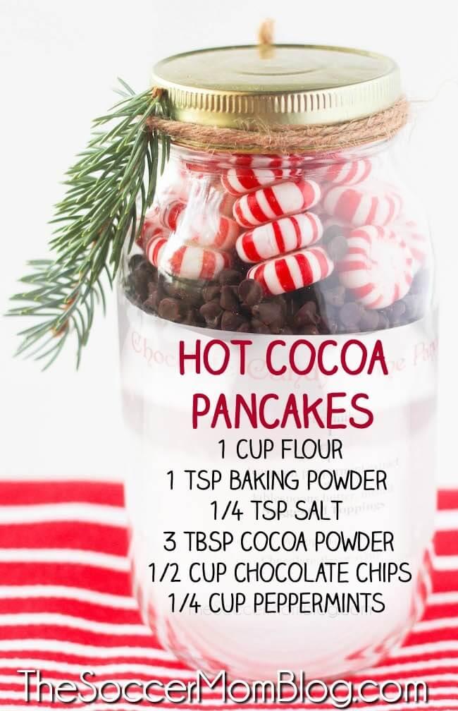 hot cocoa pancake mix in mason jar