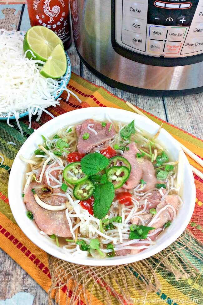 This Instant Pot Beef Phois a quick and easy copycat of the classic Vietnamese soup! Instead of spending all day simmering on the stove, this rich and flavorful broth is ready in about an hour!