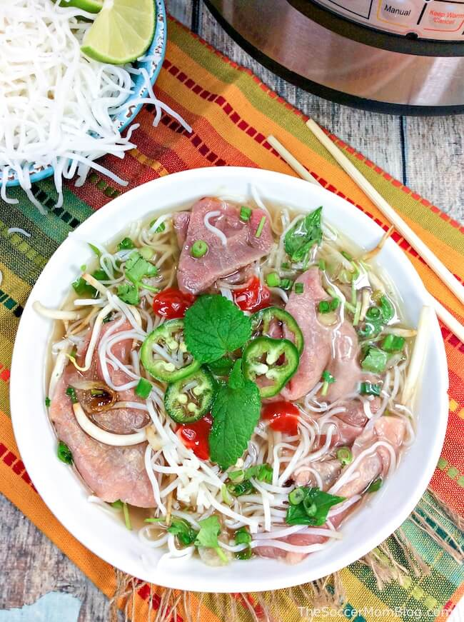 Instant Pot Beef Pho recipe served in bowl