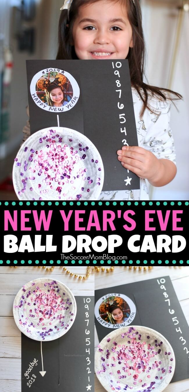 "Inside: Ring in the New Year with this adorable New Year's Eve Ball Drop Card! A commemorative countdown card that slides to reveal your child's photo. Kid-Made New Year's Eve Ball Drop Card Yesterday I was writing a check (fun, right?) and I paused while writing the date. Was it really 2018? It feels like just yesterday we were preparing for Y2K! But yes, here we are on the brink of 2019, with New Year's Eve barely over a week away! Our kids are still on the young side, so they don't stay up until midnight. However, we still want to include them in the festivities and find ways to make the night special. This New Year's Eve ball drop card is a fun and easy kid's craft for the occasion! They can make it to use for their own countdown, or as a keepsake to give to family. New Year's Countdown Card Supply List For your convenience in re-creating our New Year's Eve Ball Drop Photo Card, I've provided shop-able ad links to some of the products used; disclosure policy available here. Black card stock Small paper plate (6"") Silver glitter glue Sequins Metallic paint marker Child's photo Craft glue or glue gun Scissors How to Make a New Year's Eve Ball Drop Photo Card First, watch our quick video tutorial to see exactly how we made our easy New Year's Eve Ball Drop Card for kids. Then keep reading for full photo step-by-step instructions. Click video to play: <div class=""adthrive-video-player in-post"" itemscope itemtype=""http://schema.org/VideoObject"" data-video-id=""""jL2VKthz""""> <meta itemprop=""uploadDate"" content=""""2018-12-23T01:59:36.000Z"""" /> <meta itemprop=""name"" content=""""NYE-card-Low"""" /> <meta itemprop=""description"" content=""""Ring"" /> <meta itemprop=""thumbnailUrl"" content=""https://content.jwplatform.com/thumbs/""jL2VKthz""-720.jpg"" /> <meta itemprop=""contentUrl"" content=""https://content.jwplatform.com/videos/""jL2VKthz"".mp4"" /> </div> The first thing we did was decorate our ball, so it would have plenty of time to dry. To decorate, we spread silver glitter glue to cover the entire surface of the paper plate. While the glue was still wet, we sprinkled sequins all over so that when the glue dried the sequins would stick to the plate. Feel free to customize your New Year's Eve ball with whatever sparkly supplies you have on hand - this is what we had at home and meant to be an idea starter. You could also use metallic silver paint, paint markers, loose glitter, plastic jewels, aluminum foil, etc. While your glitter ball dries, you can work on the rest of the New Year's card. Cut a slit in the middle of your black card stock, vertically, leaving about one inch uncut at the top and bottom. Use a metallic paint marker to write a countdown on the right side of your paper, from 10 to 1. On the top left corner of your card, glue your child's photo. You may need to trim the photo so that none of it is showing when the glitter ball is on top of it. When your glitter ball is dry, glue one end a jumbo craft stick to the back of the paper plate. Slide the craft stick through the slit in your black card stock, so that the glitter ball is on top of the left side of the card stock, and that the rest of the craft stick is behind the card on the right side. Now you can slide the New Year's Eve ball up and down your card, using the craft stick. Have fun and customize your card with New Year's messages and any special decorations you like! More New Year's Eve Fun for Kids Be sure to check out our list of more than 25 of our favorite easy New Year's Eve activities for kids too:"