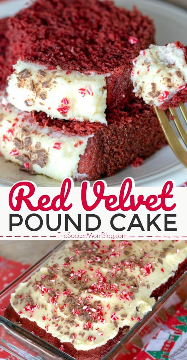One of our most popular recipes ever! Gorgeous and delicious red velvet pound cake with cream cheese icing and chocolate shavings!