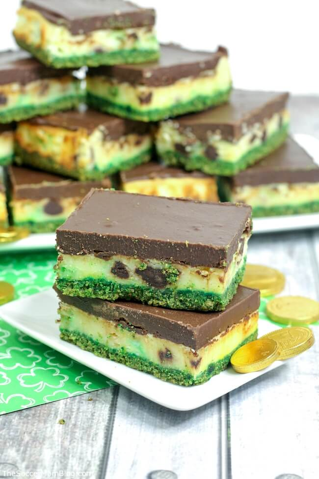 These Mint Chocolate Baileys Cheesecake Bars are delicious and festive! One of our favorite St. Patrick's Day desserts!