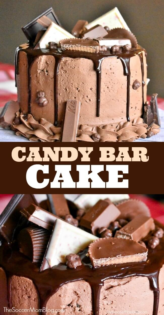 The most over-the-top decadent dessert ever!! This Candy Bar Cake is a chocolate lover's dream come true!