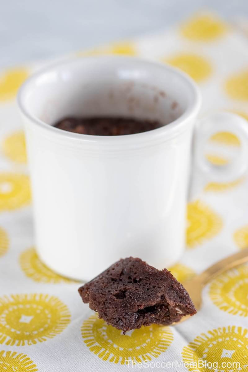A bite of a keto mug cake on fork