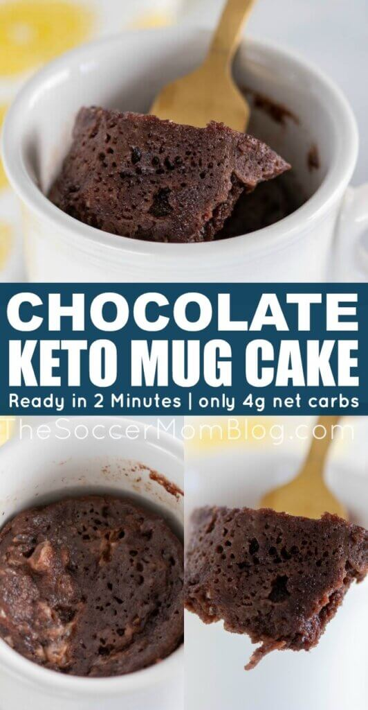 Satisfy your sweet tooth with this Keto Chocolate Mug Cake! It's moist, full of rich chocolate flavor, and ready in two minutes in the microwave!