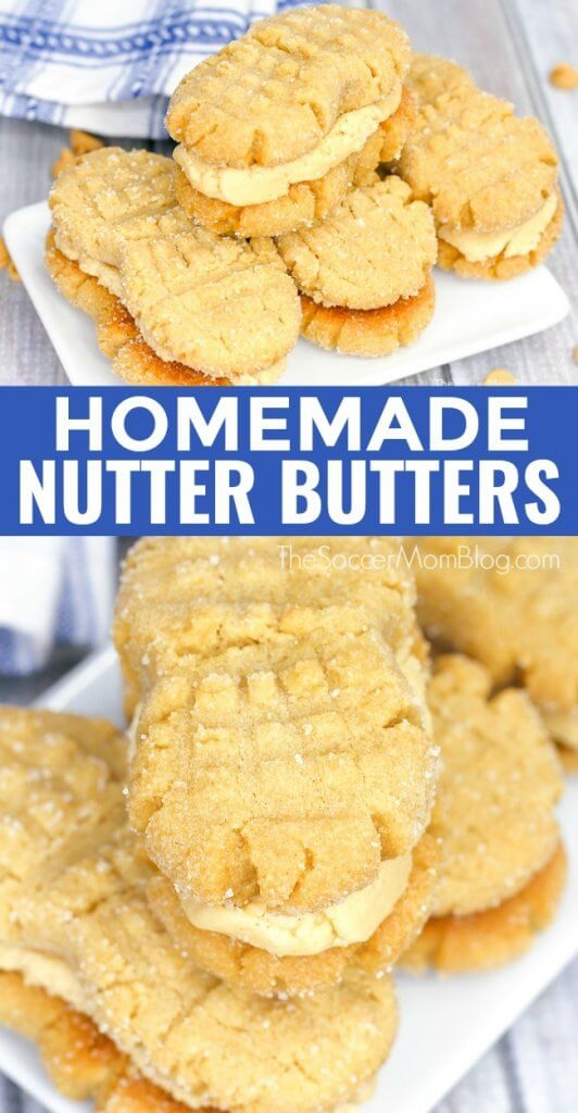 Soft peanut butter cookies filled with luscious peanut butter cream — these Homemade Nutter Butter cookies are even better than the original!