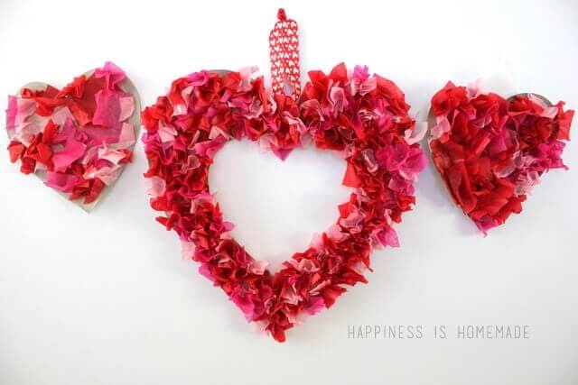 tissue paper heart shaped wreath craft