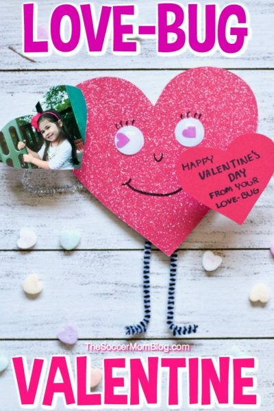 How cute is this Love Bug Valentine with springy arms and kids photo!