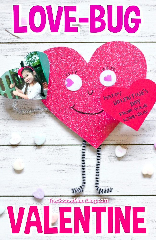 With wiggly arms and heart-shaped eyes, this cheerfulLove Bug Valentine Craftis as cute as it gets! This easy Valentine's Day craftfor kids is perfect for all ages and can be personalized with a child's photo.