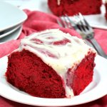Our absolutely decadent Red Velvet Cinnamon Rolls are surprisingly easy to make with this box cake shortcut!