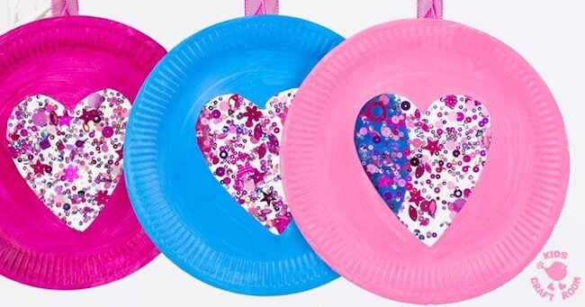 paper plate heart shaped sun catchers