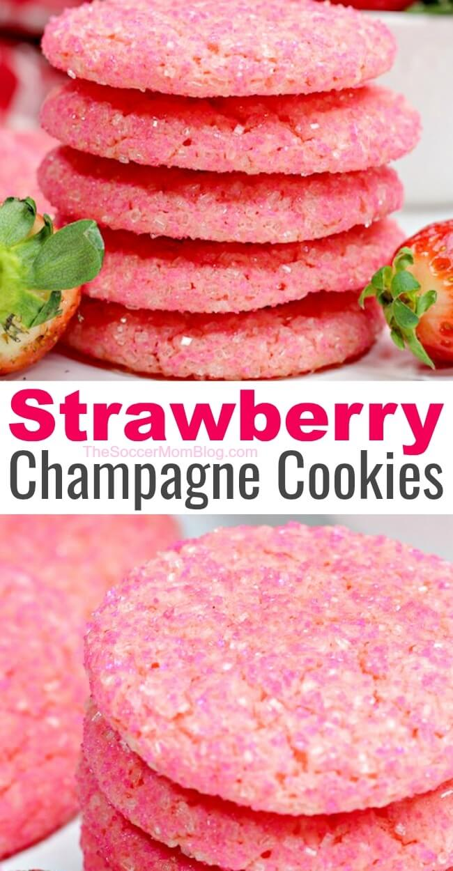 It doesn't get more festive than these bubbly pink strawberry champagne cookies! Click for photo step by step recipe for boozy and non-alcoholic versions!