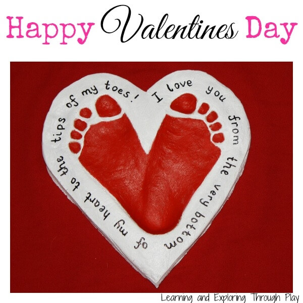salt dough Valentine footprint craft