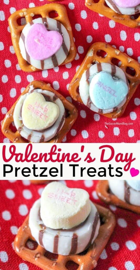 A quick and easy Valentine's Day party snack that's ready in minutes! These cute Valentine Pretzel Treats are fun for kids to make - click for video recipe!