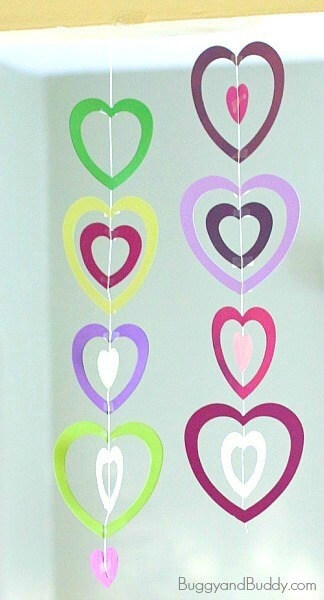 heart paper mobile for Valentine's day