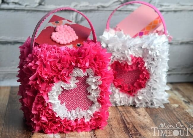 Valentine mailbox craft made with tissue paper