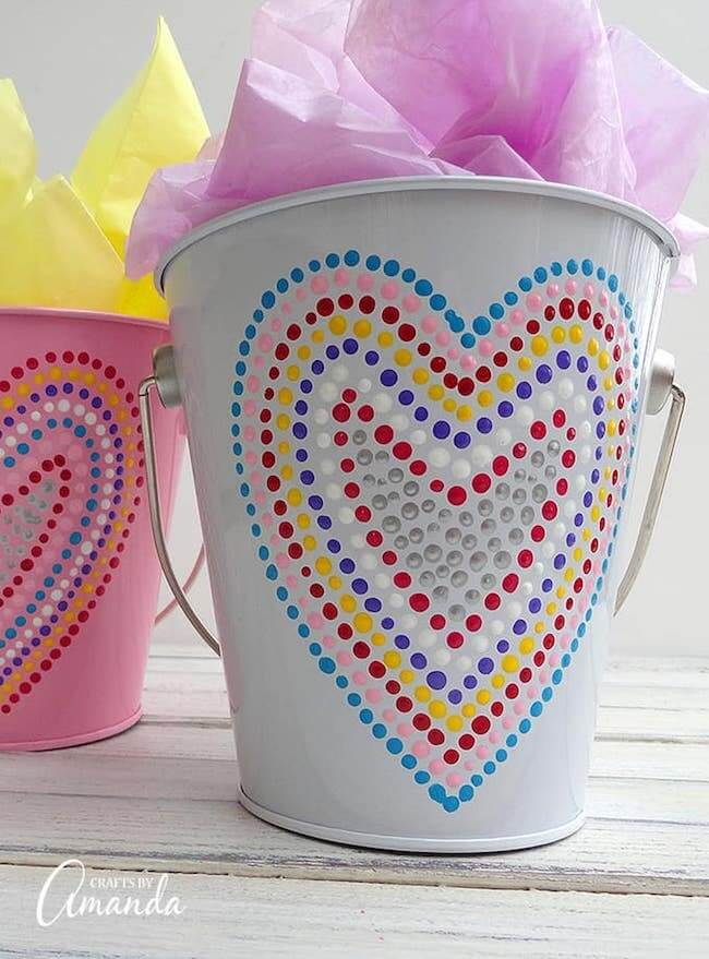 Valentine bucket with painted heart